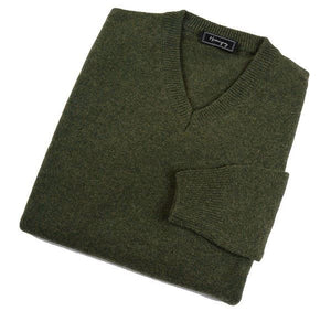 Mens Forest Green Lambswool V Neck Jumper