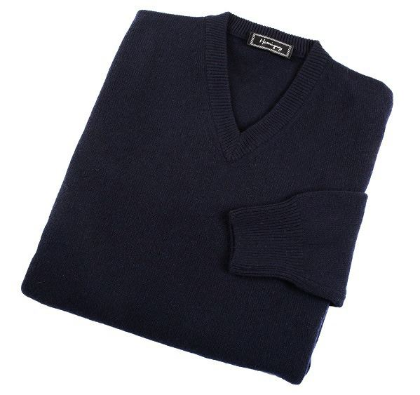 Load image into Gallery viewer, Mens Navy Lambswool V Neck Jumper