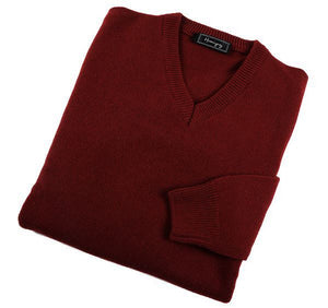 Mens Burgundy Lambswool V Neck Jumper
