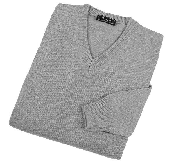 Load image into Gallery viewer, Mens Grey Lambswool V Neck Jumper