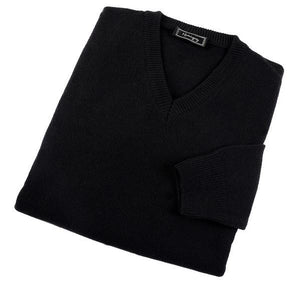 Mens Black Lambswool V Neck Jumper