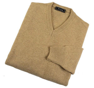 Mens Fawn Lambswool V Neck Jumper