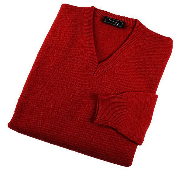 Mens Red Lambswool V Neck Jumper