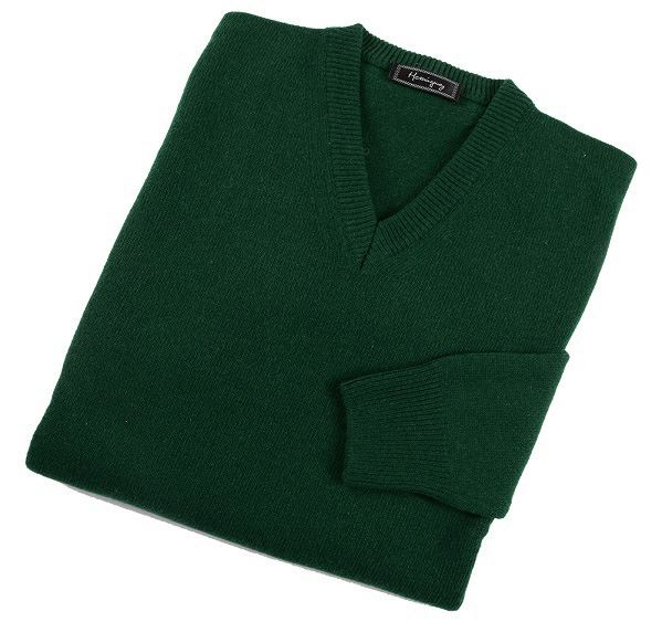 Mens Bottle Green Lambswool V Neck Jumper