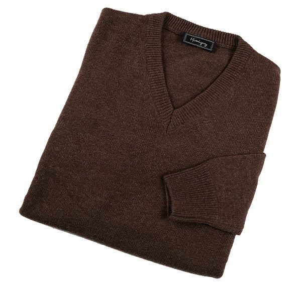 Load image into Gallery viewer, Mens Brown Lambswool V Neck Jumper