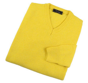 Load image into Gallery viewer, Mens Lemon Yellow Lambswool V Neck Jumper