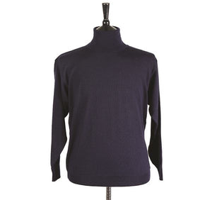 Mens Navy Merino Wool Roll Neck Jumper