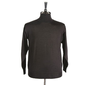 Mens Black Merino Wool Roll Neck Jumper