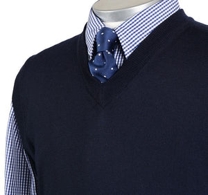 Load image into Gallery viewer, Mens Navy Merino Wool Slipover