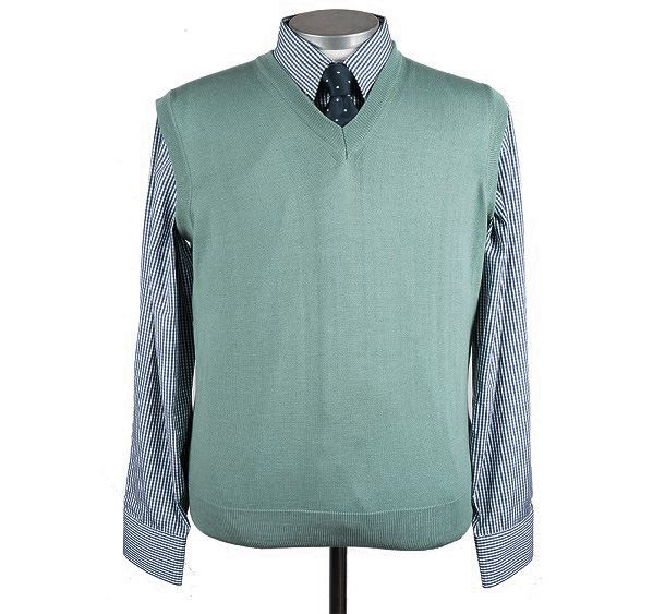 Mens Mint Green Merino Wool Slipover