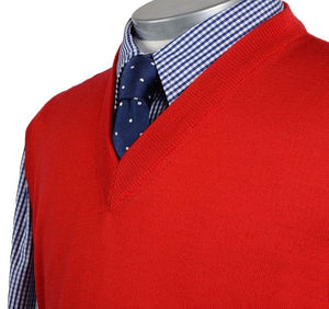 Load image into Gallery viewer, Mens Red Merino Wool Slipover