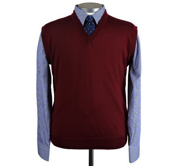 Mens Wine Red Merino Wool Slipover