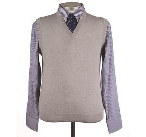 Mens Grey Merino Wool Slipover