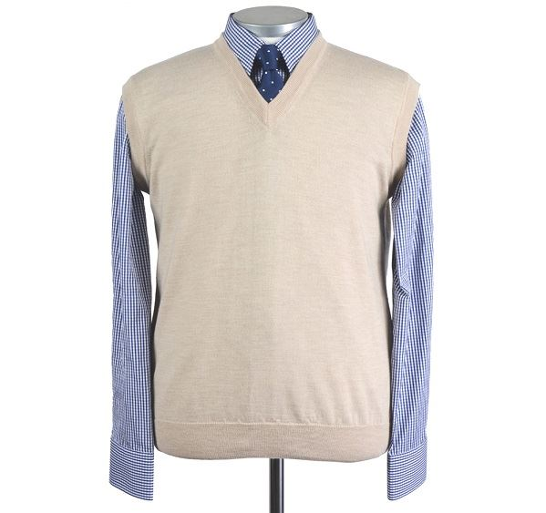 Load image into Gallery viewer, Mens Beige Merino Wool Slipover