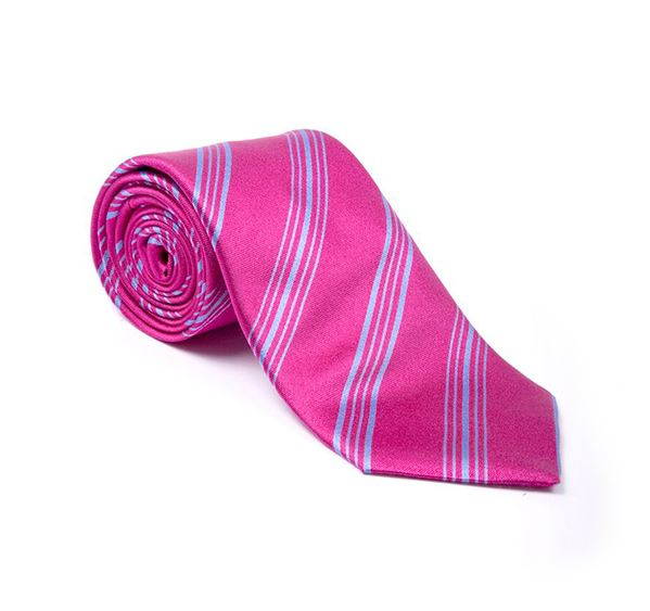 Pink & Blue Striped Woven Tie