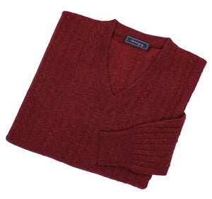 Mens Maroon Red Lambswool Cable Knit V Neck Jumper