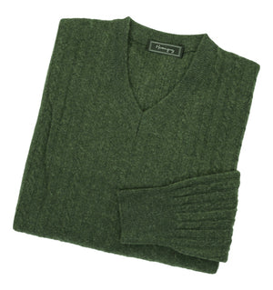 Mens Forest Green Lambswool Cable Knit V Neck Jumper