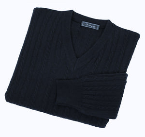 Mens Navy Lambswool Cable Knit V Neck Jumper