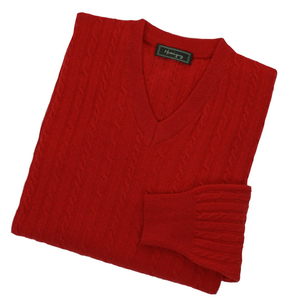Mens Poppy Red Lambswool Cable Knit V Neck Jumper