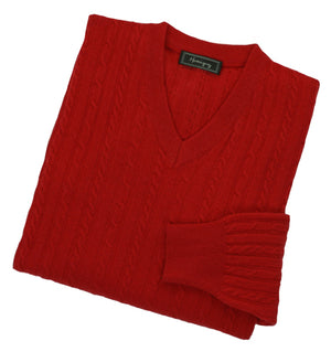 Load image into Gallery viewer, Mens Poppy Red Lambswool Cable Knit V Neck Jumper