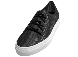 Painted Black Croco Trainer