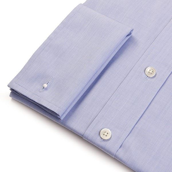 Slim Fit Men's Blue End on End Shirt