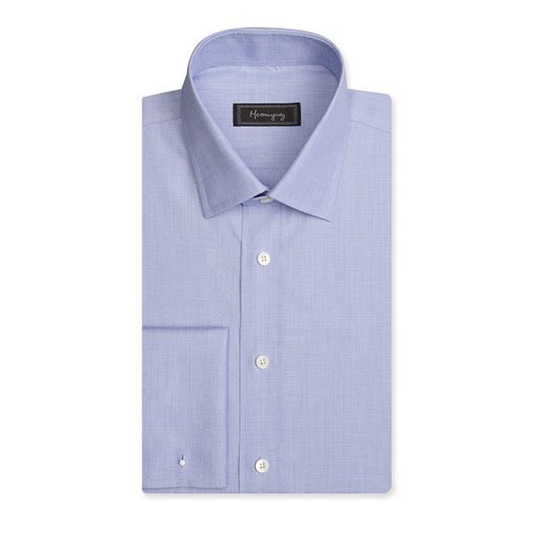 Regular Fit Men's Blue End on End Shirt