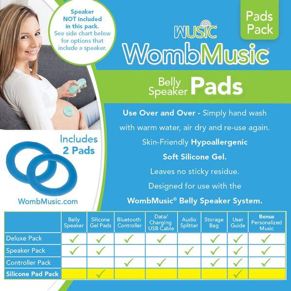REPLACEMENT Pads Pack - Silicone Gel Replacement Pads for the Womb Music Belly Speaker System by Wusic