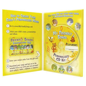 Personalized Music CD Kit by Friendly Songs - Your Child's Name is sung throughout an album of personalized music!