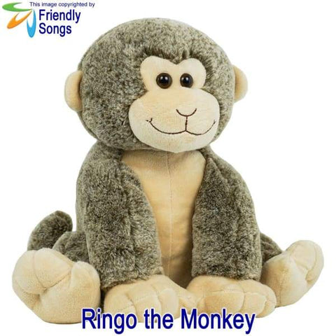 Image of YOUR Babys Heartbeat - Personalized Stuffed Animal Plush Toy with your Babys Heartbeat (or your Favorite Song) inside! - Ringo the Monkey /