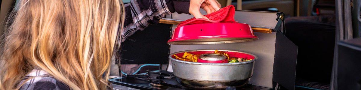 Omnia Stove Top Oven in use