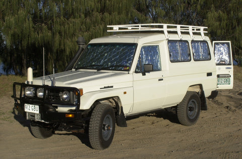 Troop carrier Toyota Landcruiser fitted with Solar Screens