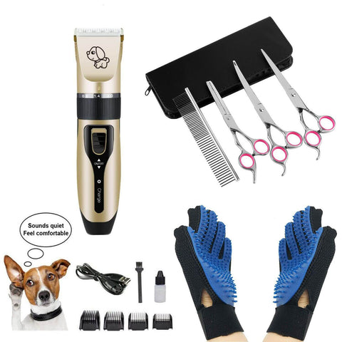 Complete Professional Pet Dog Cat Clippers Scissors Hair Grooming Trimmer Shaver Kit Set