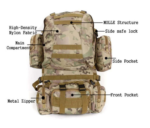 StealthOps™Tactical 50L 600D Military Backpack Bug-Out Bag Nylon Rucksack Outdoor Camping with MOLLE system