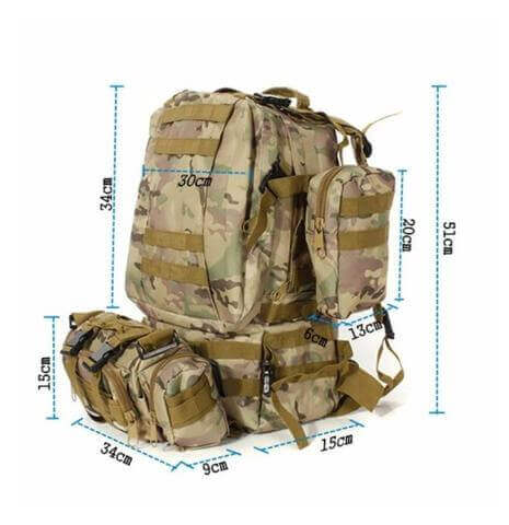 StealthOps™Tactical 50L 600D Military Backpack Bug-Out Bag Nylon Rucksack Outdoor Camping with MOLLE Dimensions