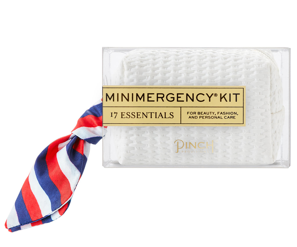 White Basketweave/Stripe Scarf Minimergency Kit