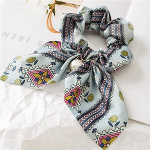 Chiffon Floral Printed Pearls Scrunchies