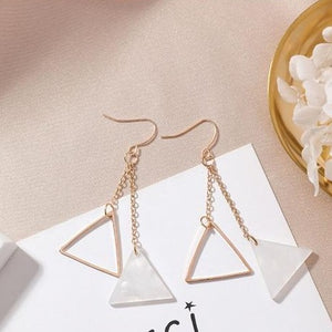 Shell Petals / Geometric Triangle Earrings