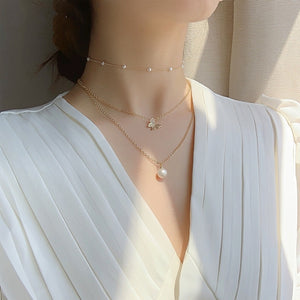 Multi Layer Pearl Short Necklaces(Set)