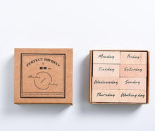 Load image into Gallery viewer, DIY Month Week Planner Wooden Stamps Set