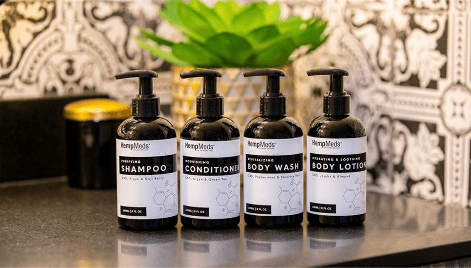 HempMeds Personal Care products: Purifying Shampoo, Nourishing Conditioner, Revitalizing Body Wash, and Hydrating & Soothing Body Lotion