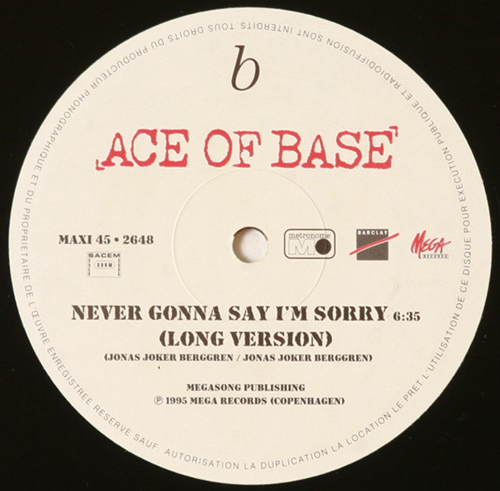 Ace Of Base ‎– Never Gonna Say I'm Sorry