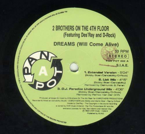 2 Brothers On The 4th Floor Featuring Des'Ray And D-Rock ‎– Dreams (Will Come Alive) (Vinilop usado) (VG) caratula genérica gastada, disco reproduce bien.
