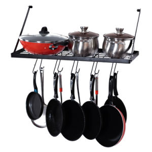 Square Grid Wall Mounted Pot And Pan Organizer Shelf With 15 Hooks