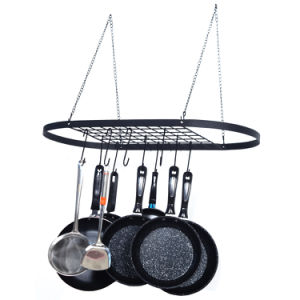 Pot and Pan Rack for Ceiling with Hooks Decorative Wall Mounted Storage Rack