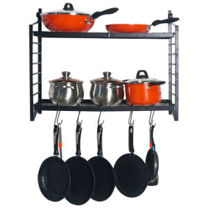 2-Tiered Wall Mounted Pot Rack