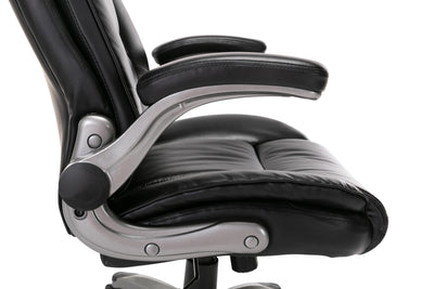High Back Leather Chair with Flip-up Arms