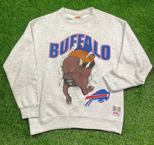 Load image into Gallery viewer, Vintage Double Sided Buffalo Bills Crewneck Size Medium