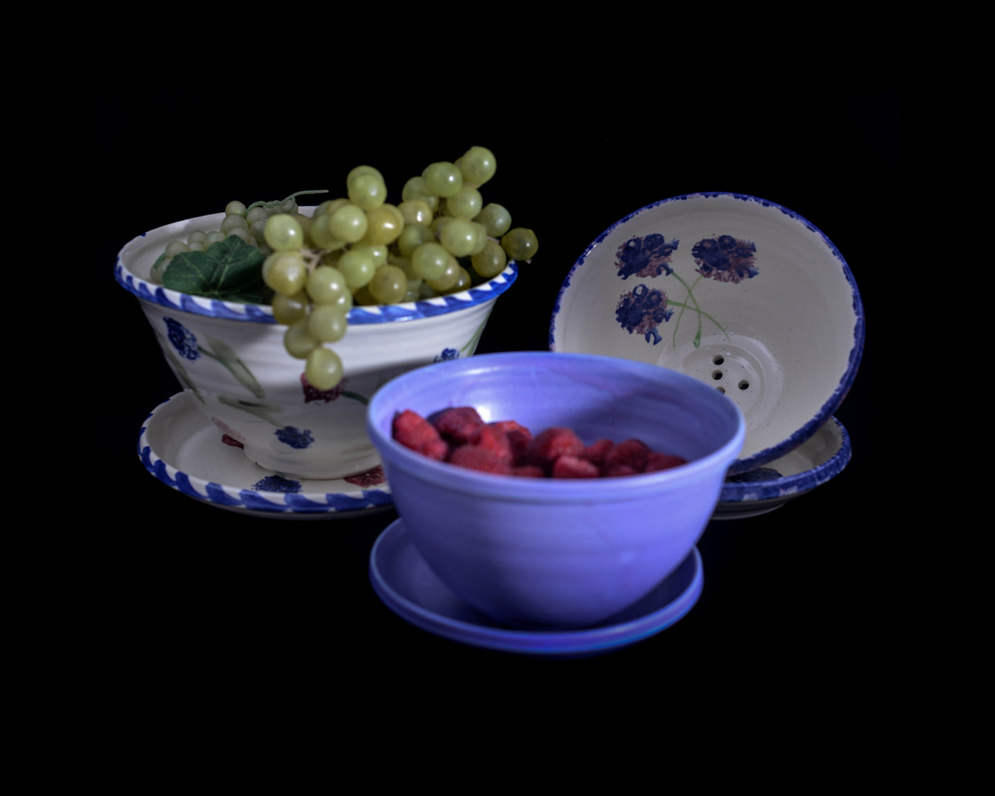 handmade colander with drip plate