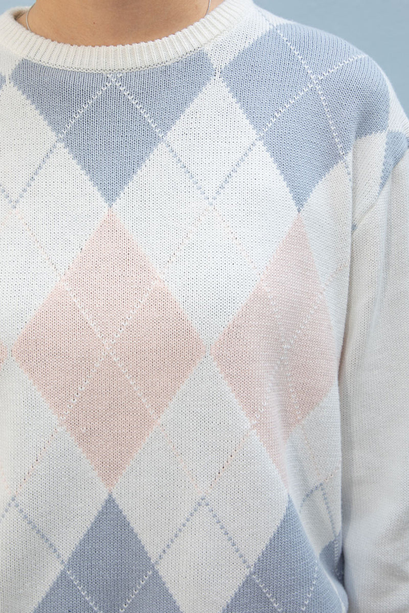 Pink White Blue Argyle